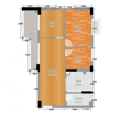 顺丰翠园2室2厅1卫1厨81.00㎡户型图