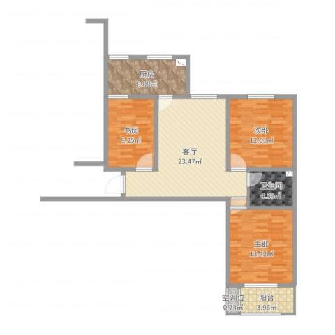 开源嘉苑小区3室1厅1卫1厨95.00㎡户型图