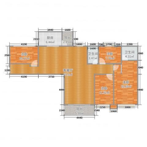 世纪华庭5#4室2厅2卫1厨164.00㎡户型图