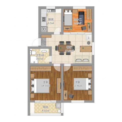 苏安新村2室1厅1卫1厨87.00㎡户型图