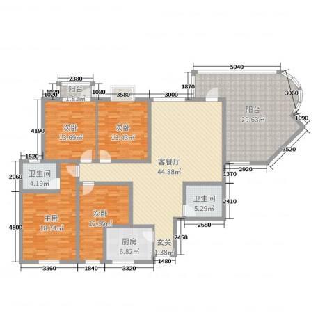 宏明大厦4室2厅2卫1厨181.00㎡户型图