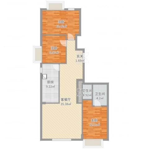 御翠湾3室2厅2卫1厨108.00㎡户型图