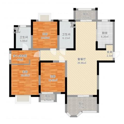 合生杭州湾国际新城3室2厅2卫1厨141.00㎡户型图
