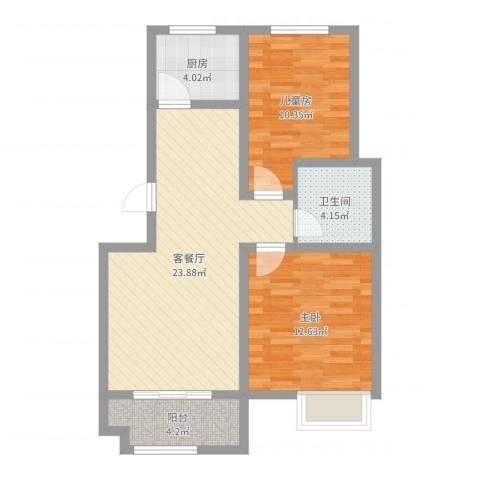 京都城2室2厅1卫1厨74.00㎡户型图