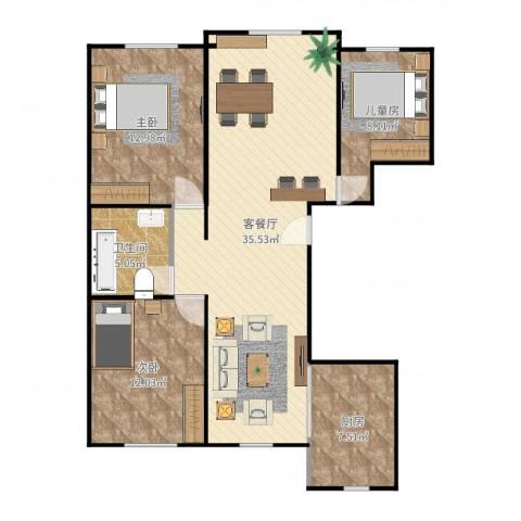 龙湾3室2厅1卫1厨102.00㎡户型图