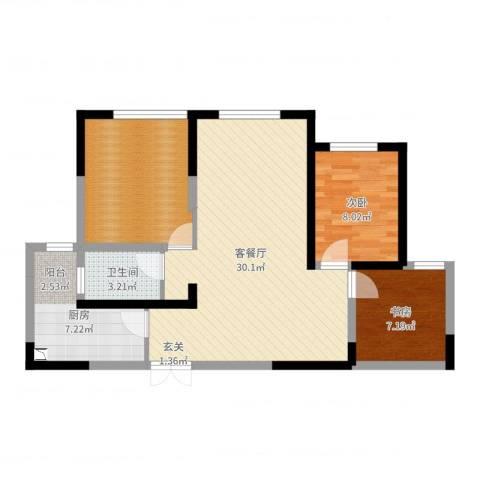 金海名园2室2厅1卫1厨84.00㎡户型图