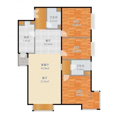 西成忆树3室2厅2卫1厨132.00㎡户型图