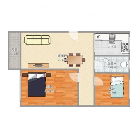 东明花园四期1栋3022室2厅1卫1厨75.00㎡户型图