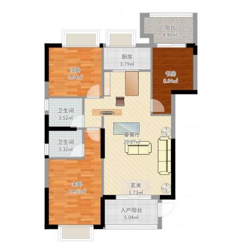 金丰花园3室2厅2卫1厨102.00㎡户型图