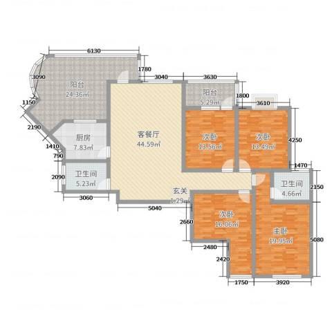 宏明大厦4室2厅2卫1厨180.00㎡户型图