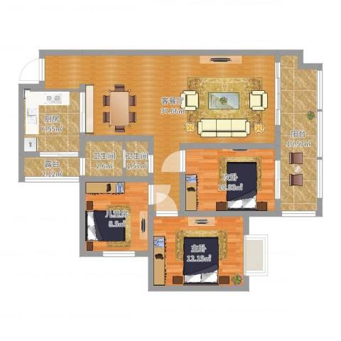 阳光新城3室2厅2卫1厨116.00㎡户型图