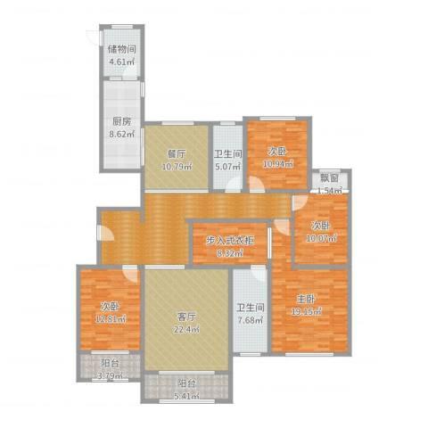 高新城市广场4室2厅2卫1厨206.00㎡户型图