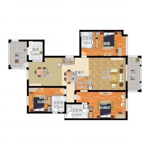龙湾3室2厅3卫1厨199.00㎡户型图