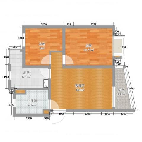 新梅淞南苑2室2厅1卫1厨67.00㎡户型图