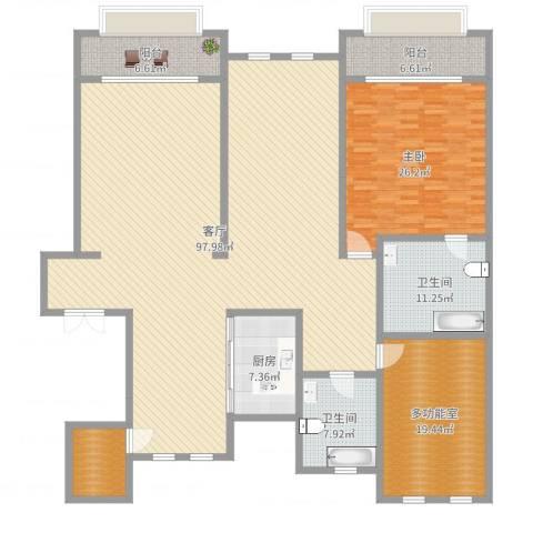 溪岸艺墅1室1厅2卫1厨235.00㎡户型图
