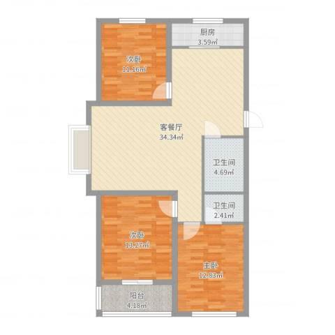 御品星城3室2厅2卫1厨108.00㎡户型图