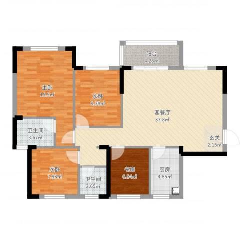 中航城4室2厅2卫1厨111.00㎡户型图