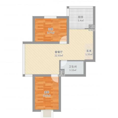 鑫丰华凯鑫城2室2厅1卫1厨62.00㎡户型图