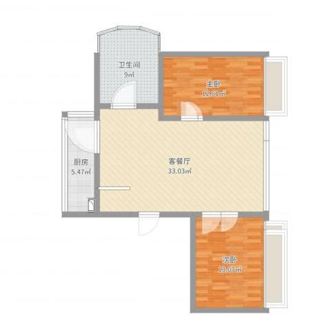 丽景琴园2室2厅1卫1厨91.00㎡户型图