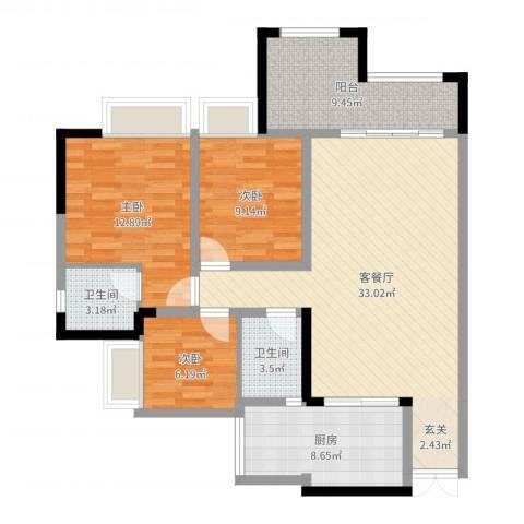 昌龙阳光尚城3室2厅2卫1厨108.00㎡户型图