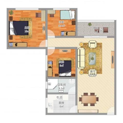 万华花园3室1厅1卫1厨107.00㎡户型图