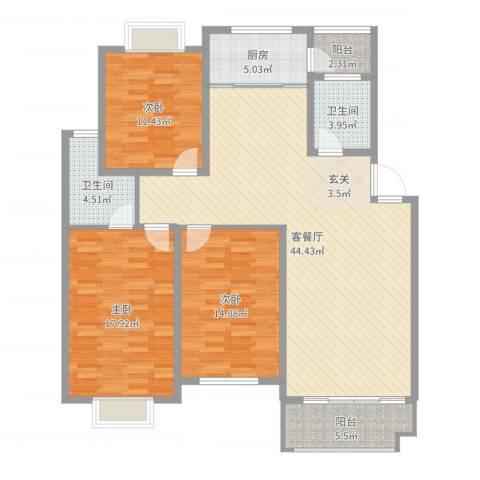 海德公园别墅3室2厅2卫1厨137.00㎡户型图