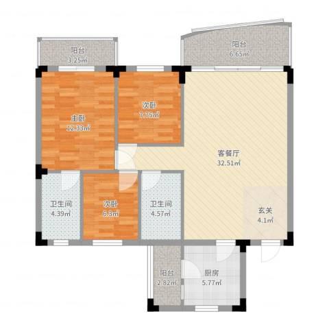 年丰山庄3室2厅2卫1厨108.00㎡户型图