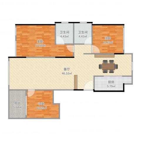 东湖怡景园3室1厅2卫1厨132.00㎡户型图
