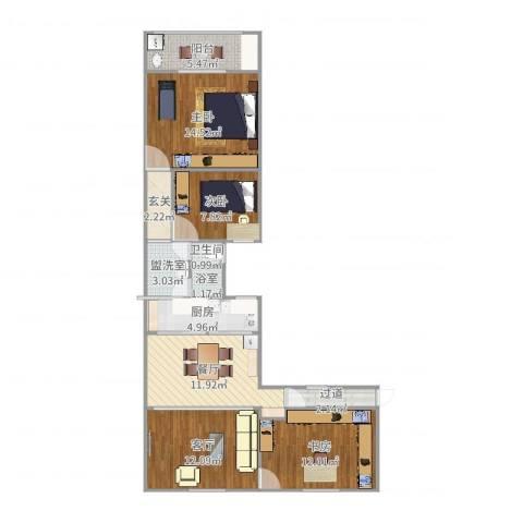 开鲁六村3室4厅2卫2厨98.00㎡户型图