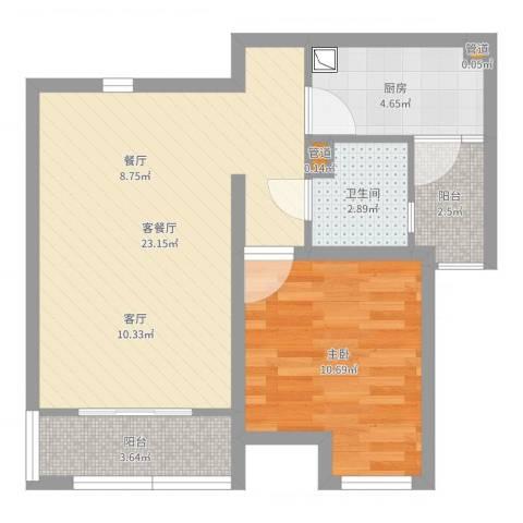 嘉宝紫提湾1室2厅2卫2厨60.00㎡户型图