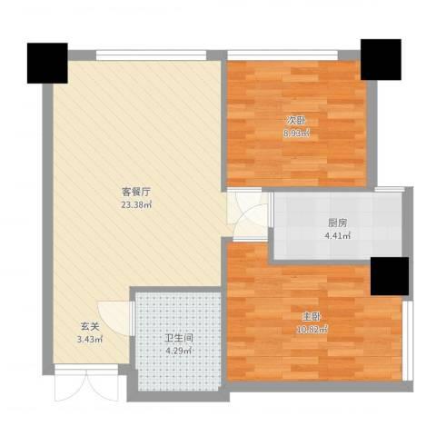 天津大都会SMART公寓2室2厅1卫1厨65.00㎡户型图