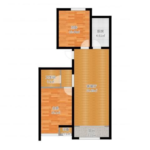 戴河海公园2室2厅1卫1厨76.00㎡户型图
