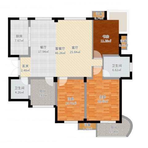 盛大晶座3室2厅2卫1厨155.00㎡户型图
