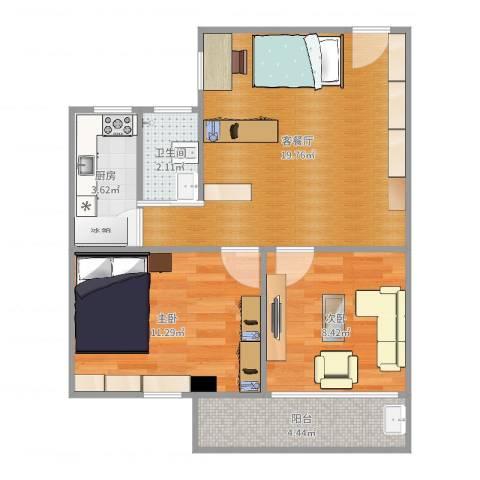 翠景园2室2厅1卫1厨62.00㎡户型图