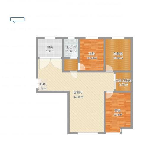 山阴县中央城2室2厅1卫1厨114.00㎡户型图