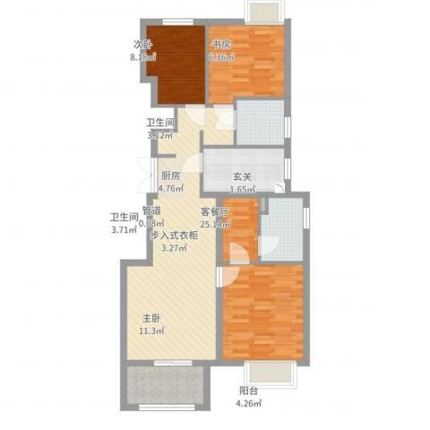 绿地海域香廷3室2厅2卫1厨102.00㎡户型图
