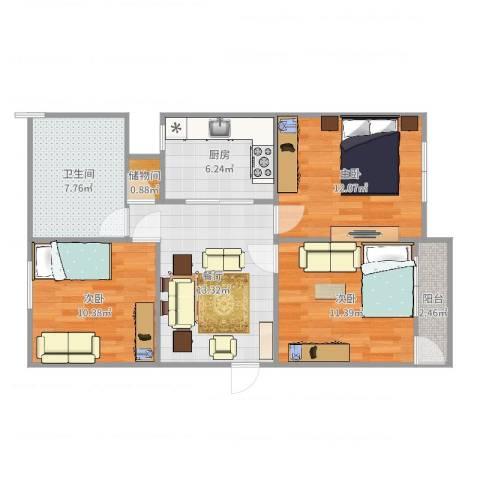 苍梧路468弄小区3室1厅1卫1厨81.00㎡户型图