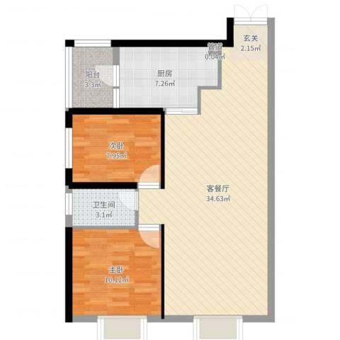 西雅图2室2厅1卫1厨83.00㎡户型图