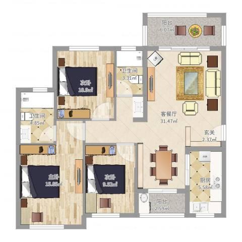 君华硅谷3室2厅2卫1厨113.00㎡户型图