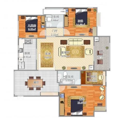 南岸花园4室3厅2卫1厨163.00㎡户型图