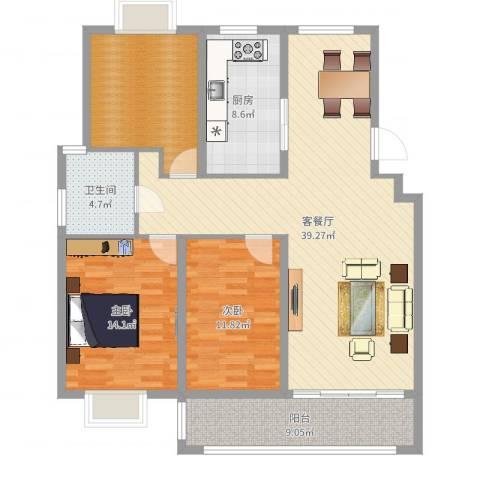 来泉山庄2室2厅1卫1厨123.00㎡户型图