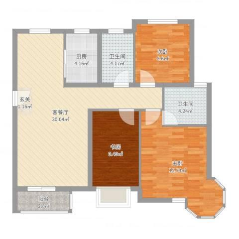天元蓝城3室2厅2卫1厨99.00㎡户型图