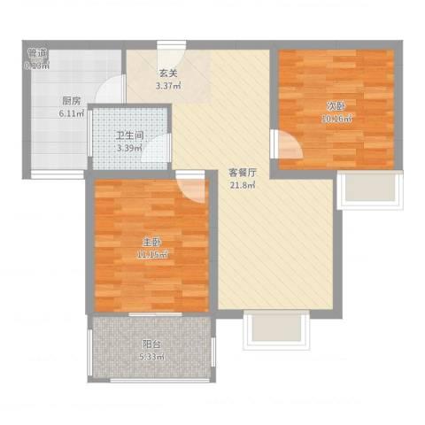 嘉宇万豪名苑2室2厅1卫1厨73.00㎡户型图