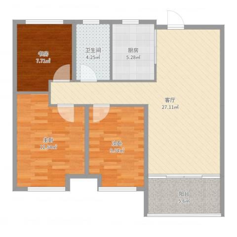 徐州华润绿地・凯旋门3室1厅1卫1厨90.00㎡户型图