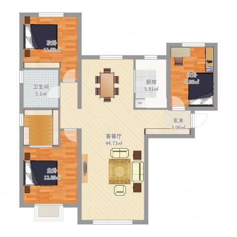 天润・香墅湾1号3室2厅1卫1厨119.00㎡户型图