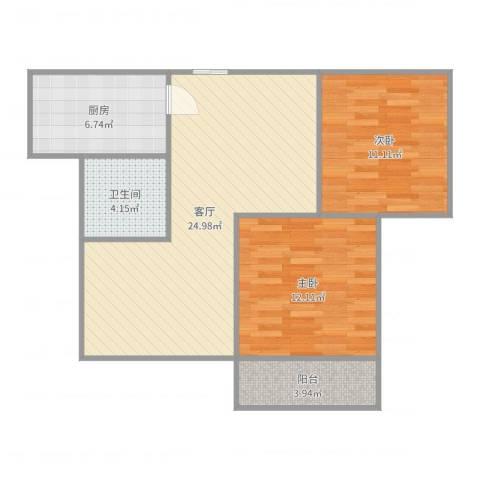 济高・理想嘉园2室1厅1卫1厨79.00㎡户型图
