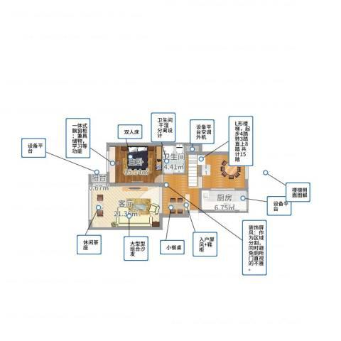 江南华庭1室1厅1卫1厨91.00㎡户型图