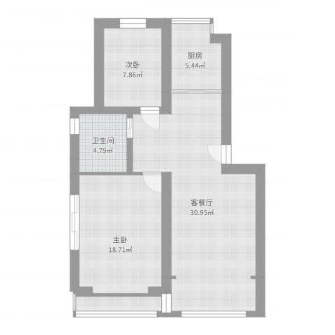 荷风华庭2室2厅1卫1厨85.00㎡户型图