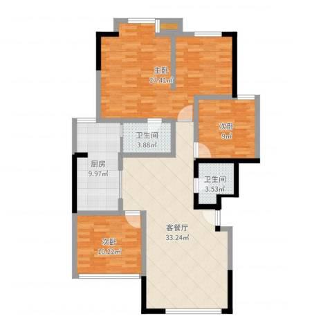 竹韵山庄3室2厅2卫1厨122.00㎡户型图