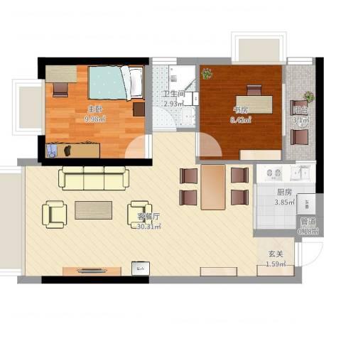 中天财富2室2厅1卫1厨73.00㎡户型图